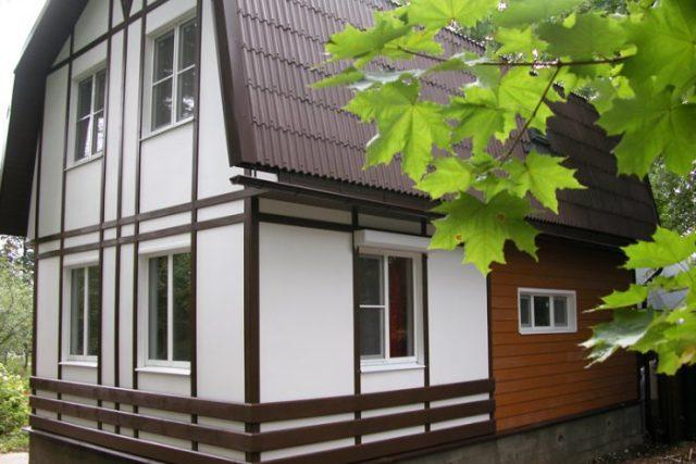 Отделка фасада дома вентилируемым фасадом из фиброцементных панелей