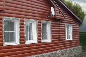 Имитация бревно металлическим сайдингом под блок хаус