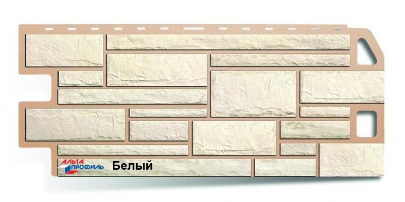 Цокольный сайдинг Альта профиль коллекция Камень цвет белый