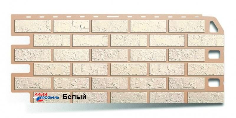 Цокольный сайдинг Альта профиль коллекция Кирпич цвет белый