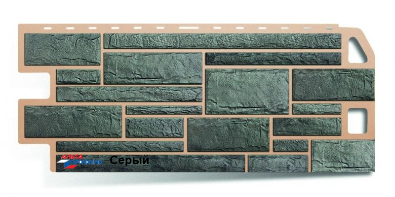 Цокольный сайдинг Альта профиль коллекция Камень цвет серый