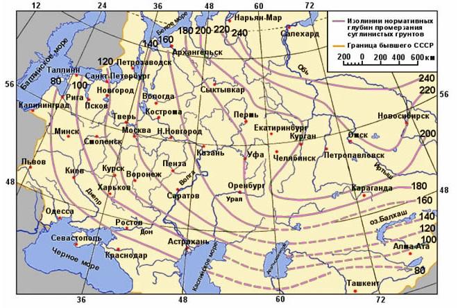 Изотермические линии нормативной глубины промерзания по Европейской территории России и Западной Сибири.