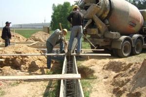 Послойная заливка бетона частями