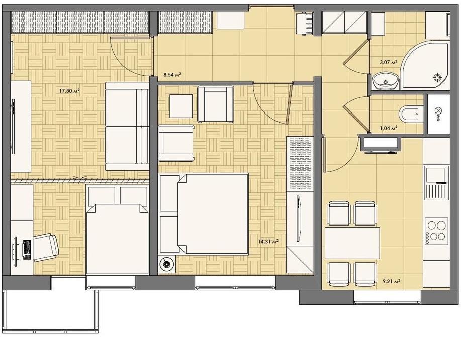 Проект ремонта в двухкомнатной квартире